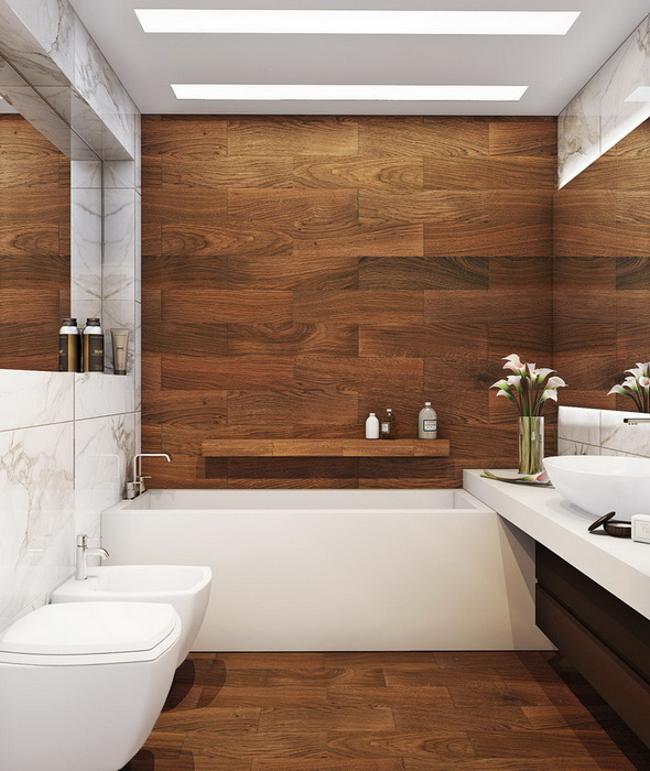 Белая ванная комната: дизайн с панно, кафелем и др 148