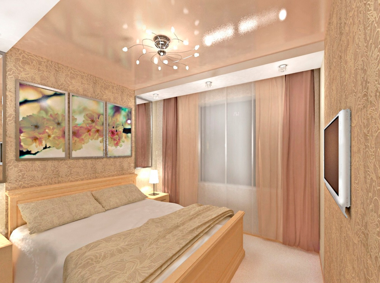 Дизайн спальни с натяжными потолками фото