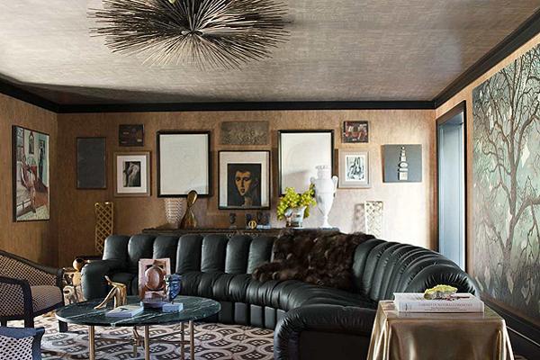 Гламурный дизайн интерьеров дома в темных тонах