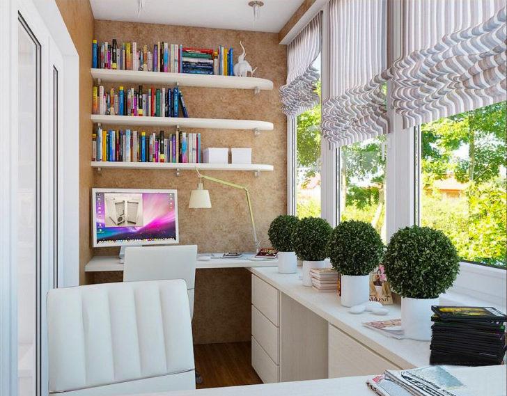 Дизайн балкона под кабинет