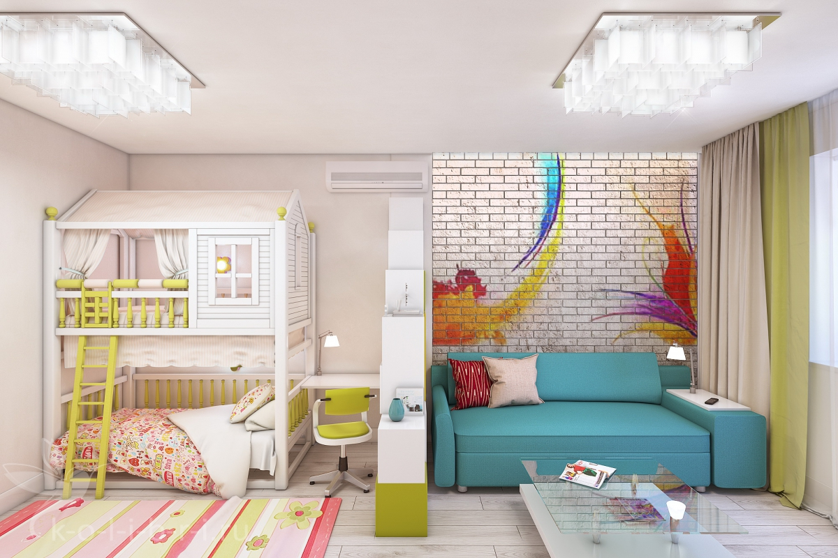 дизайн комнаты 18 кв.м в однокомнатной квартире с детской фото