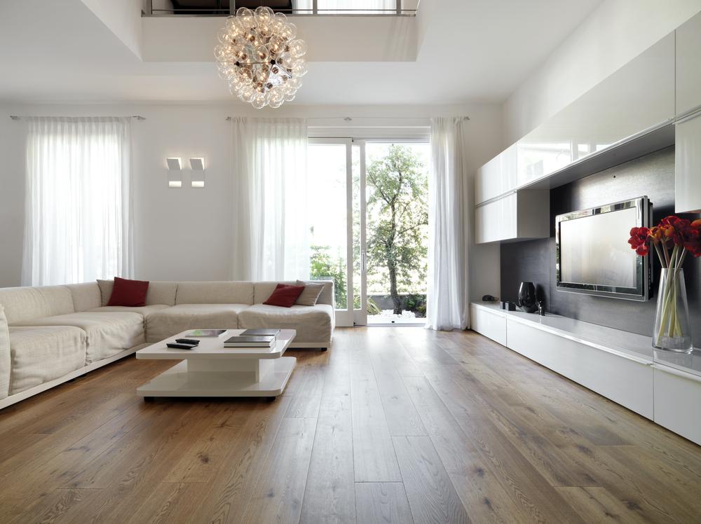 Интерьер гостиной со светлым ламинатом фото