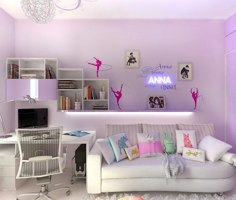 Дизайн комнаты для девочек с диваном