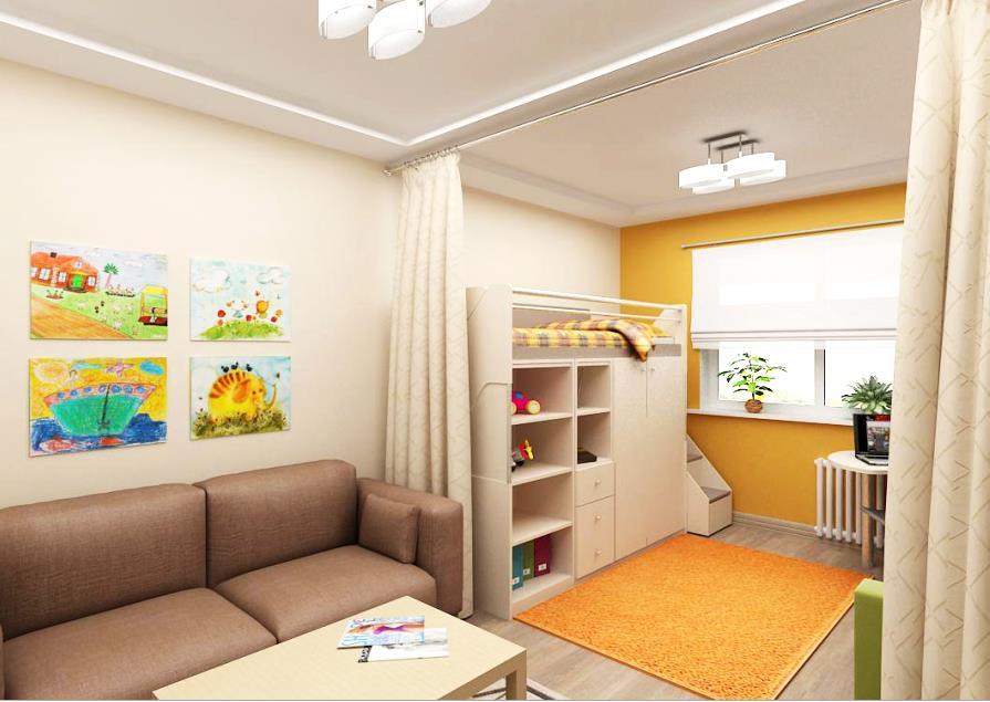 дизайн в однокомнатной квартире для семьи с ребенком фото