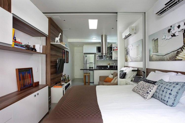 Дизайн квартиры прямоугольной студии 27 кв.м фото