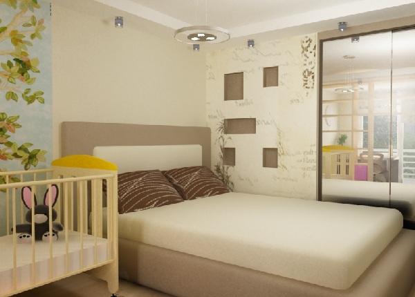 Спальня с детской кроваткой дизайн 12 метров