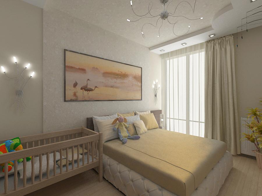 Обустройство спальни в детской в одной комнате.