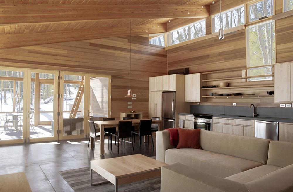 Гостиная с кухней под дерево дизайн