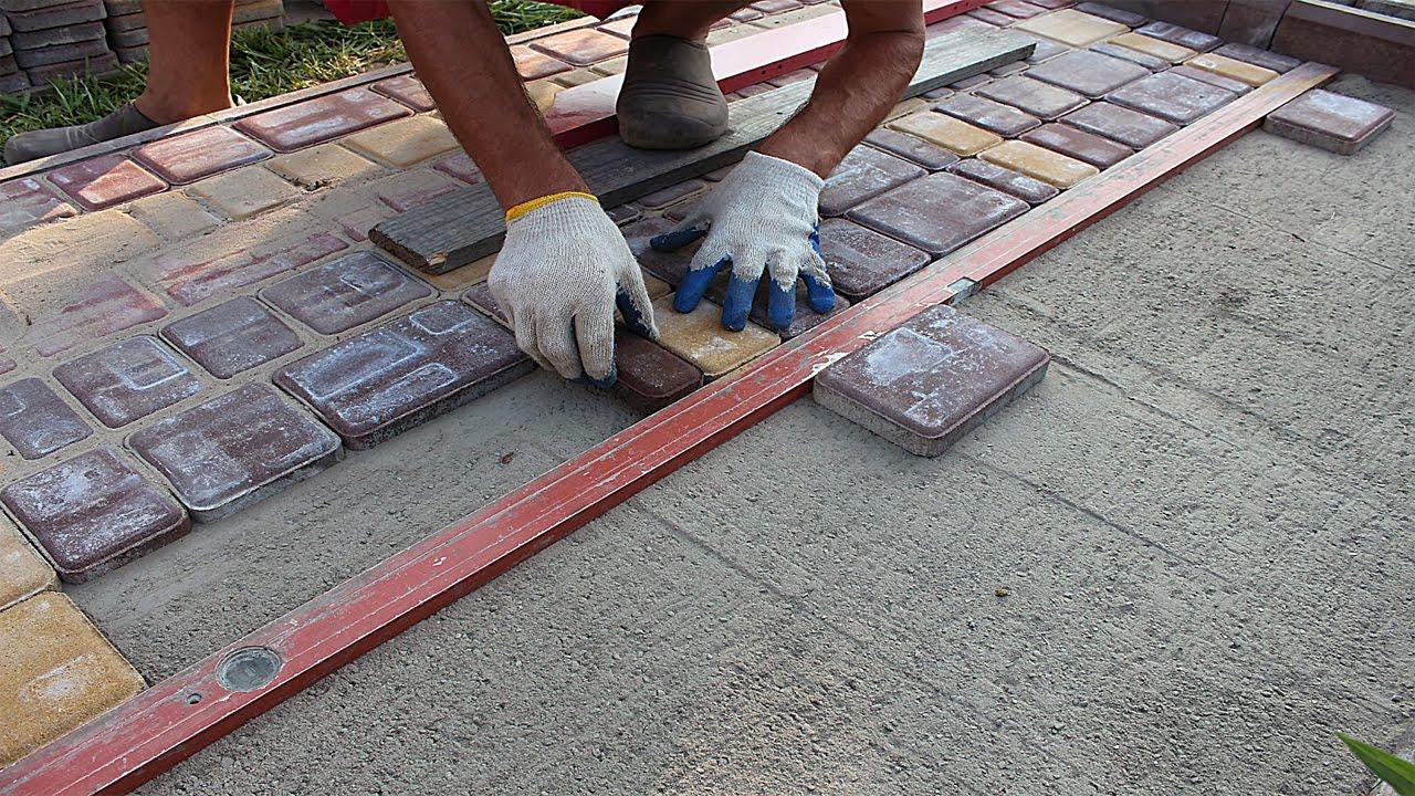 Укладка тротуарной плитки на старый бетон своими руками