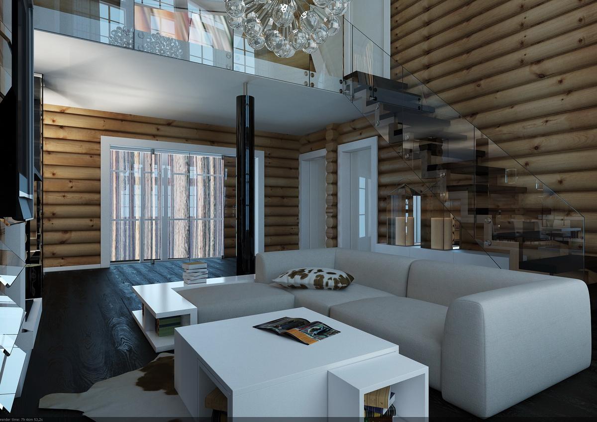 Лофт в деревянном доме из сруба фото