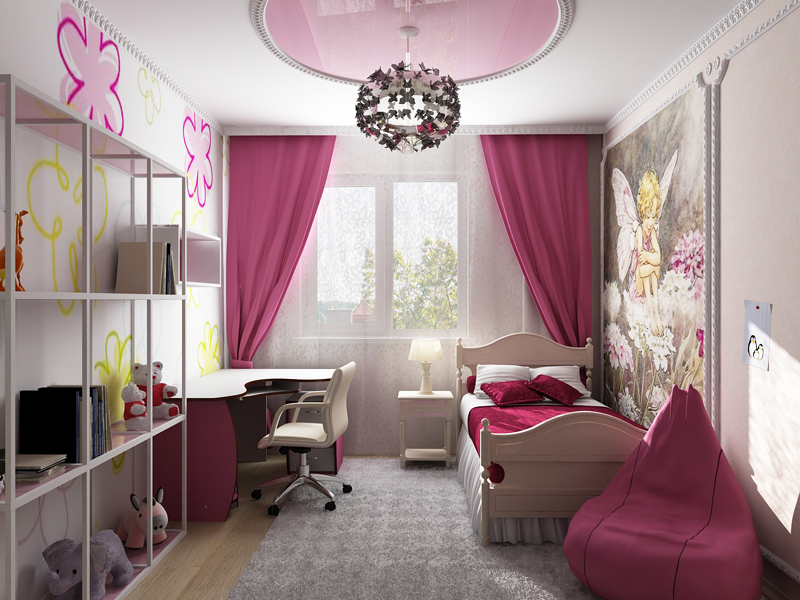 Дизайн детской комнаты для девочек - фото примеров.