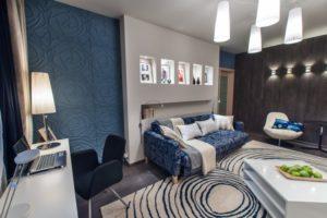 Современный дизайн интерьера комнаты площадью 12 кв. м.