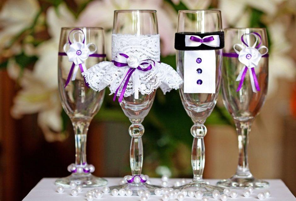 Оформление свадебных бокалов своими руками с фото 599
