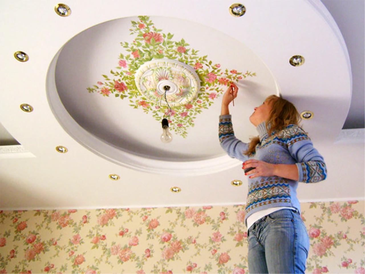 Рисунки на потолке: видео-инструкция по оформлению