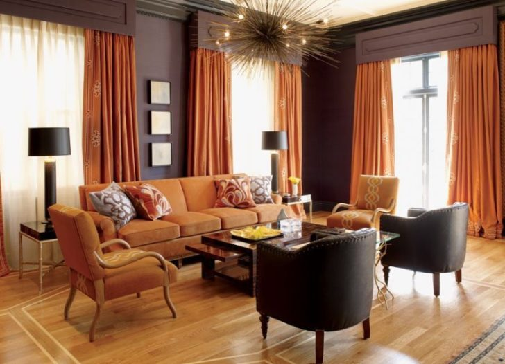гостиная в коричневых тонах