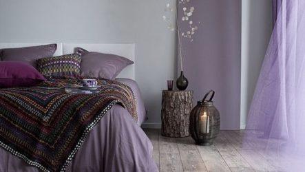 Дизайн спальни в сиреневых тонах с фотографиями