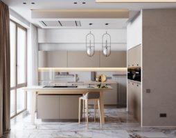 Цвет капучино в интерьере кухни с фото