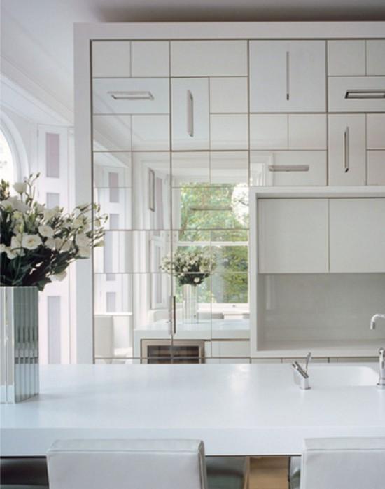 зеркальные элементы в интерьере кухни