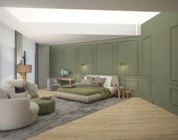 Фисташковые тона для уютного интерьера спальни