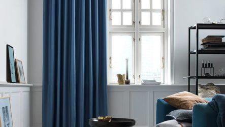 Удачные варианты применения синих штор в интерьере