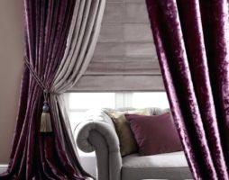 Шторы в фиолетовых тонах: способности оконных убранств создавать театральный антураж и домашний уют