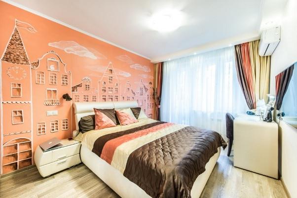 интерьер спальни с фотообоями