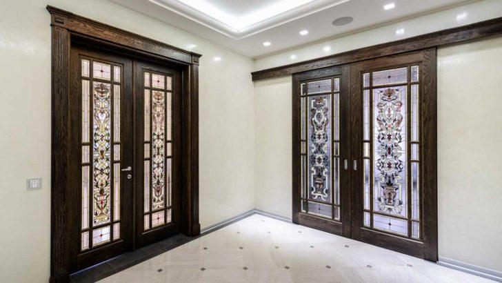 витражные двери в интерьере