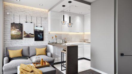 Приемы планировки и дизайна кухни в однокомнатной квартире