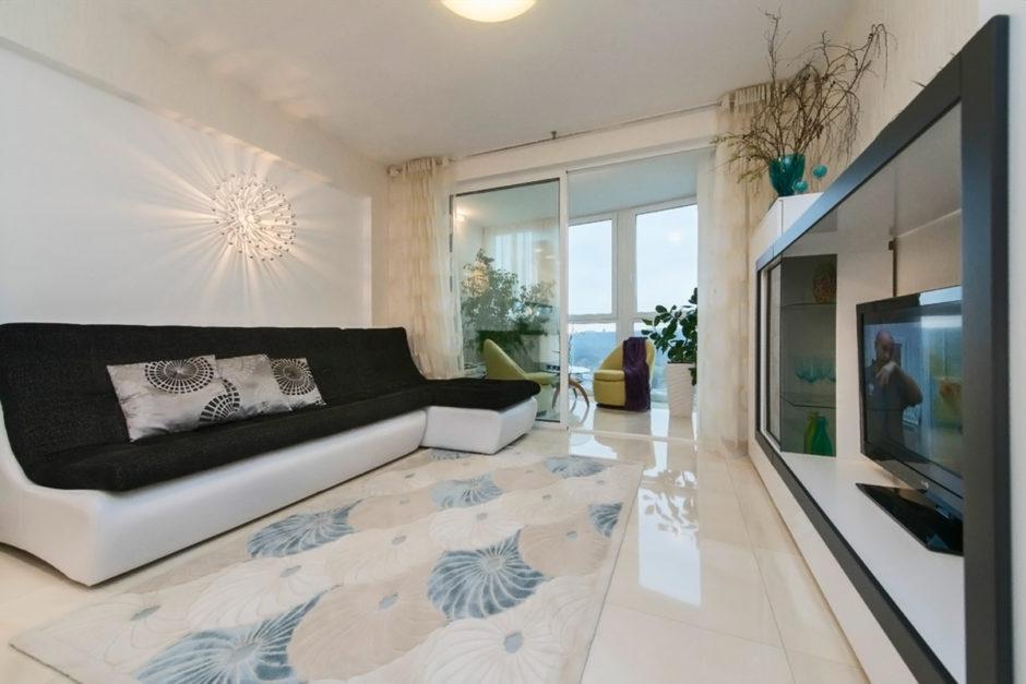 Дизайн объединение балкона с гостиной