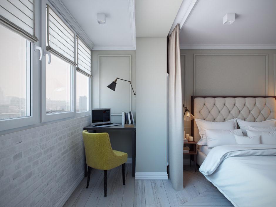 Балкон объединенный с комнатой. Рабочая зона