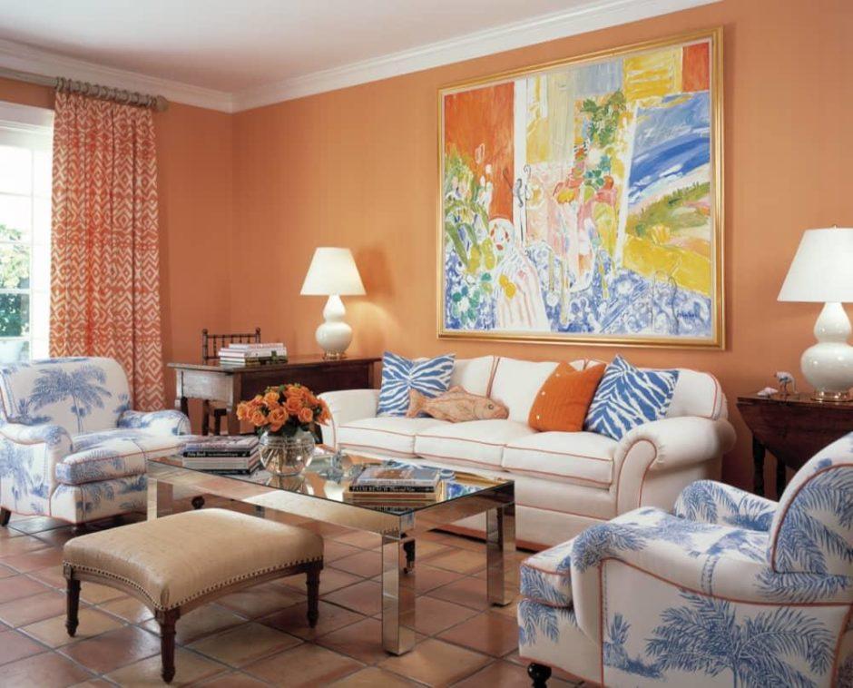 Этно-стиль с персиковыми обоями