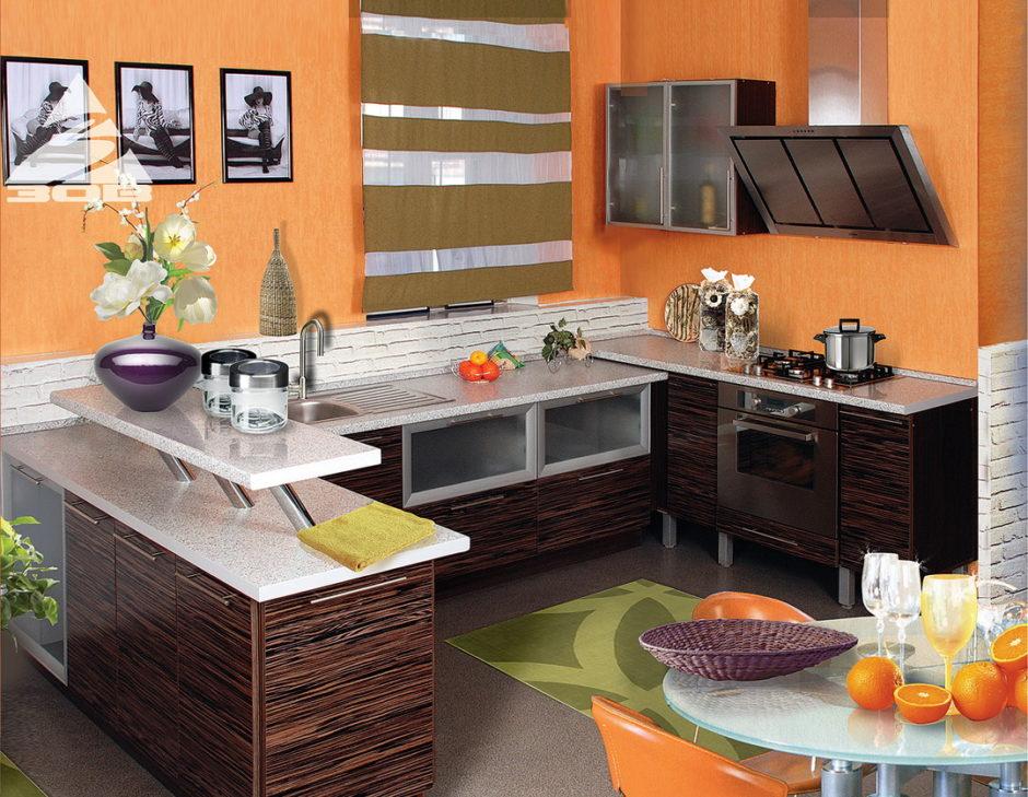Персиковый цвет обоев в кухонном интерьере