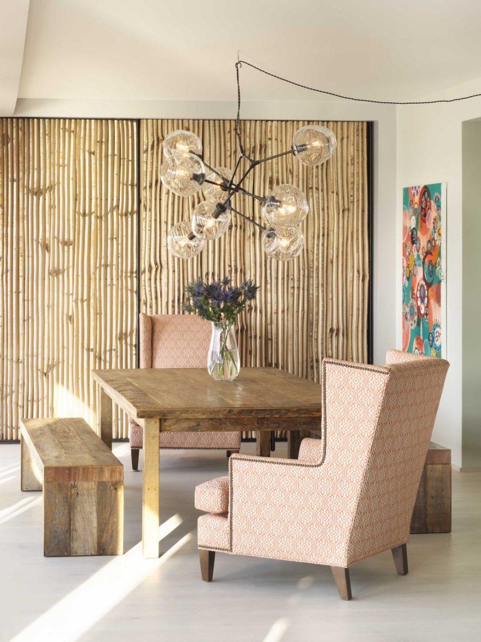 Бамбуковые обои в интерьере комнаты