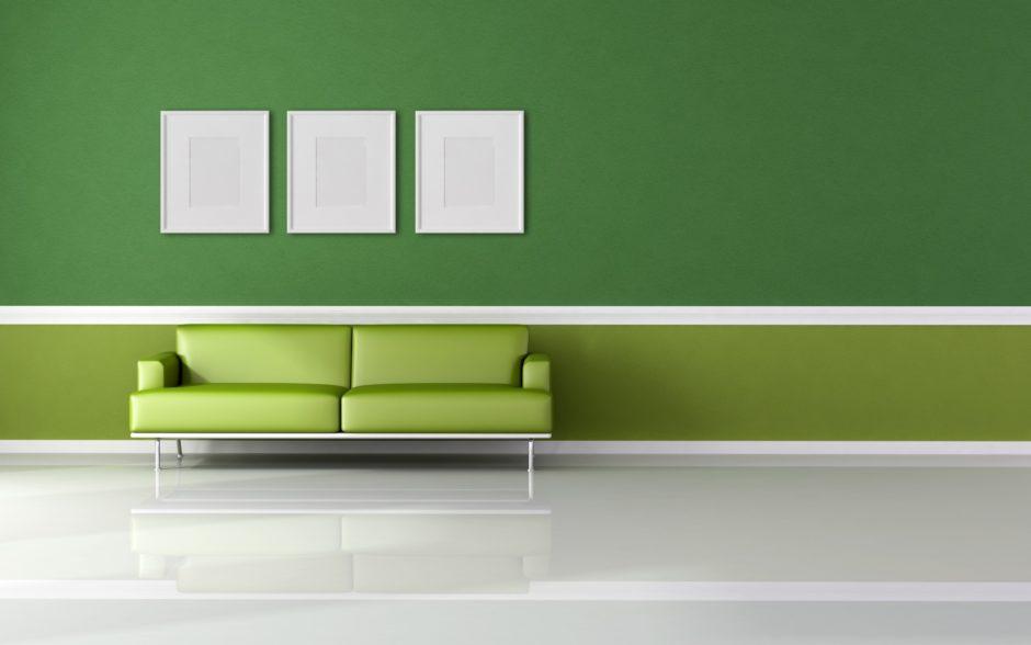 Комбинирование обоев. Зеленый