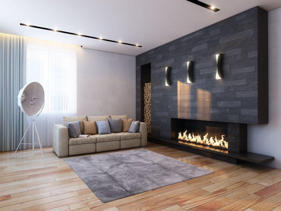 Камин в минималистической гостиной