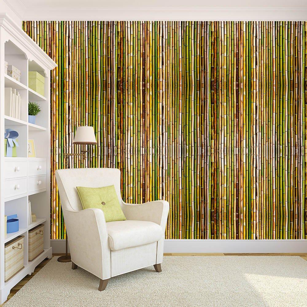 обои бамбук в интерьере фото камин