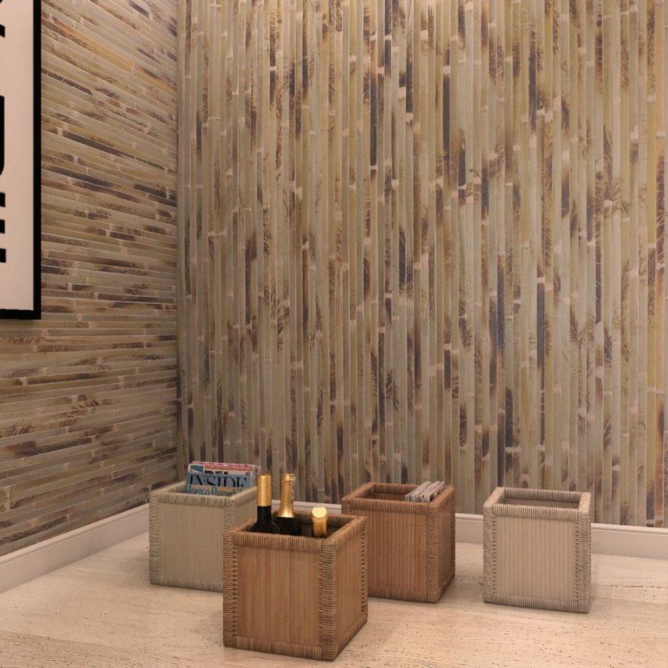 Бамбуковые обои в интерьере. Аксессуары и мебель