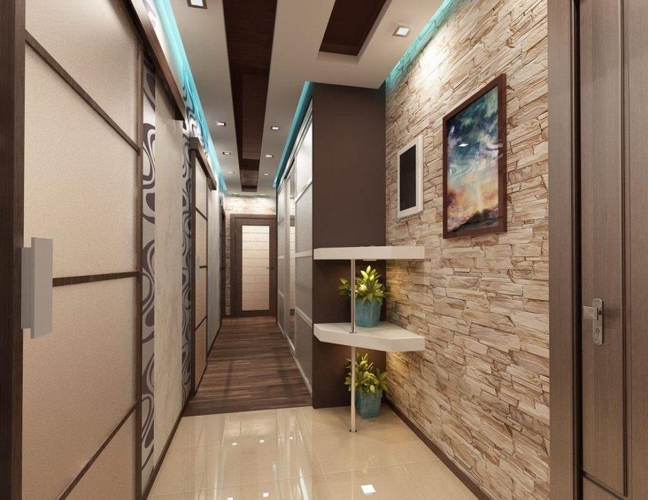 Кирпичная стена в интерьере коридора