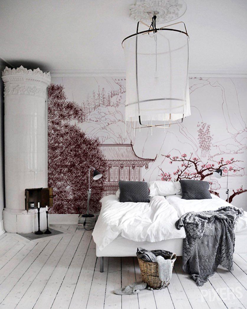 Освещение в комнате в японском стиле