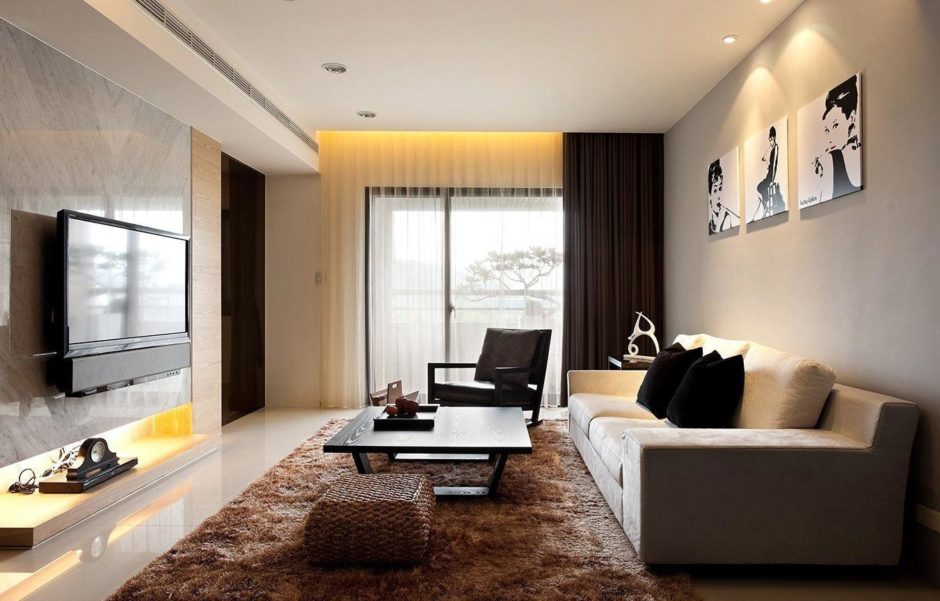 Минимализм в дизайне маленькой гостиной