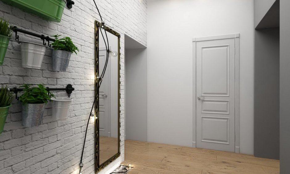 Кирпичная стена в прихожей. Скандинавский стиль