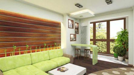 Дизайнерское оформление гостиной в фисташковом стиле