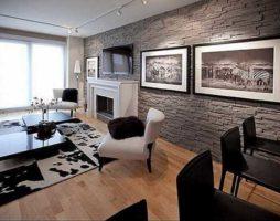Искусственный камень в интерьере гостиной: дизайнерские приемы отделки и декора