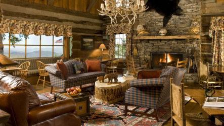 Необыкновенный уют гостиной, оформленной в деревенском стиле