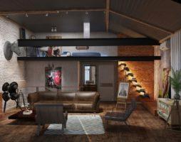 Эклектические потолки в стиле лофт