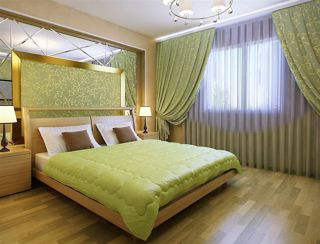 дизайн спальни в зеленых коричнево белых тонах фото гипсокартона зале станут