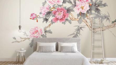 Дизайн маленькой спальни современными 3д фотообоиями 2020