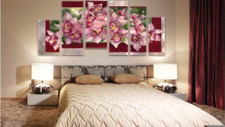 Картины на холсте в дизайне спальни